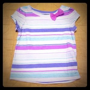 Striped tee with bow embellishment